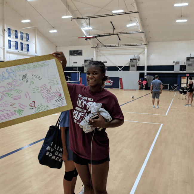 Coach-cree-showing her farewell card